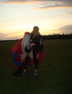Safe on the ground after my first skydive by myself! A beautiful sunset jump!